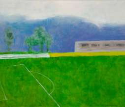 2009, Football field and hills, oil on canvas, 80 x 100