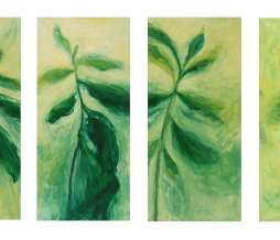 1997, Study of a plant, oil on canvas, 4 x 150 x 70 cm