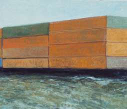2000, Containership, oil on canvas, 143 x 293 cm
