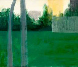 2009, Football field, a goal and two tower buildings II, oil on canvas, 40 x 50 cm