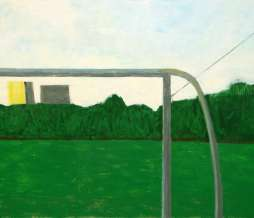 2009, Football field, a goal and two tower buildings, oil on canvas, 180 x 220 cm
