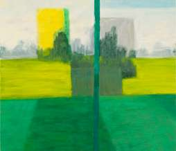 2009, Football field and two tower buildings, oil on canvas, 160 x 180 cm