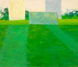 2009, Football field and two tower buildings II, oil on canvas, 80 x 100 cm