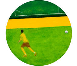 2011, Football player, oil on canvas, 60 cm diameter